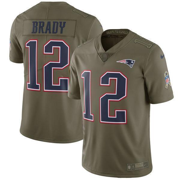 wholesale dealer 49189 d11a2 Tom Brady New England Patriots Salute To Service Limited Jersey - Olive