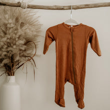 Load image into Gallery viewer, Caramel Oeko-Tex Certified Bamboo Knit Zipper Footed Sleeper