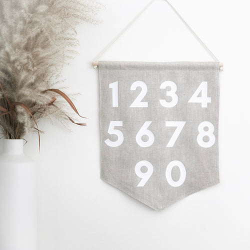 Oeko-Tex Certified Numbers Linen Wall Banner Nursery Decor Made in Canada