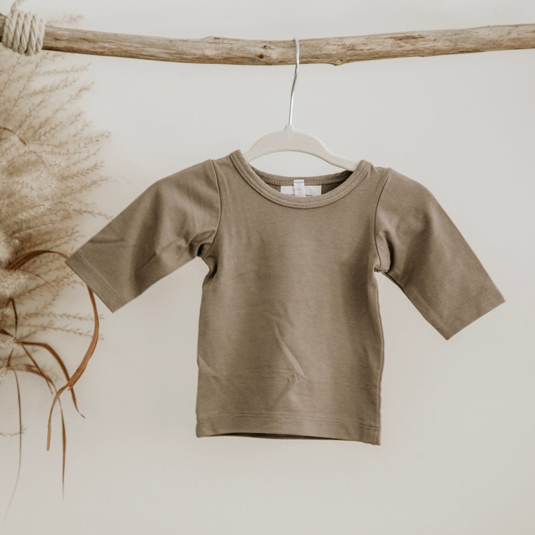 Taupe Oeko-Tex Certified Bamboo Knit Long Sleeve Shirt