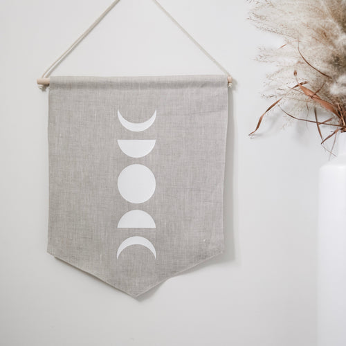Moon Phases Linen Wall Banner
