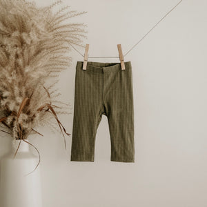 Moss Oeko-Tex Certified Bamboo Ribbed Knit Pants
