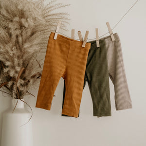Mustard Oeko-Tex Certified Bamboo Ribbed Knit Pants