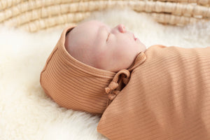Caramel Oeko-Tex Certified Bamboo Ribbed Knit Swaddle Blanket Made in Canada
