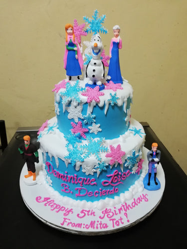 Two Layer Frozen Theme Personalized Cake