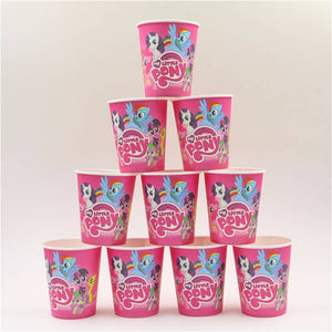 Pony Unicorn Themed Pink Party Cups