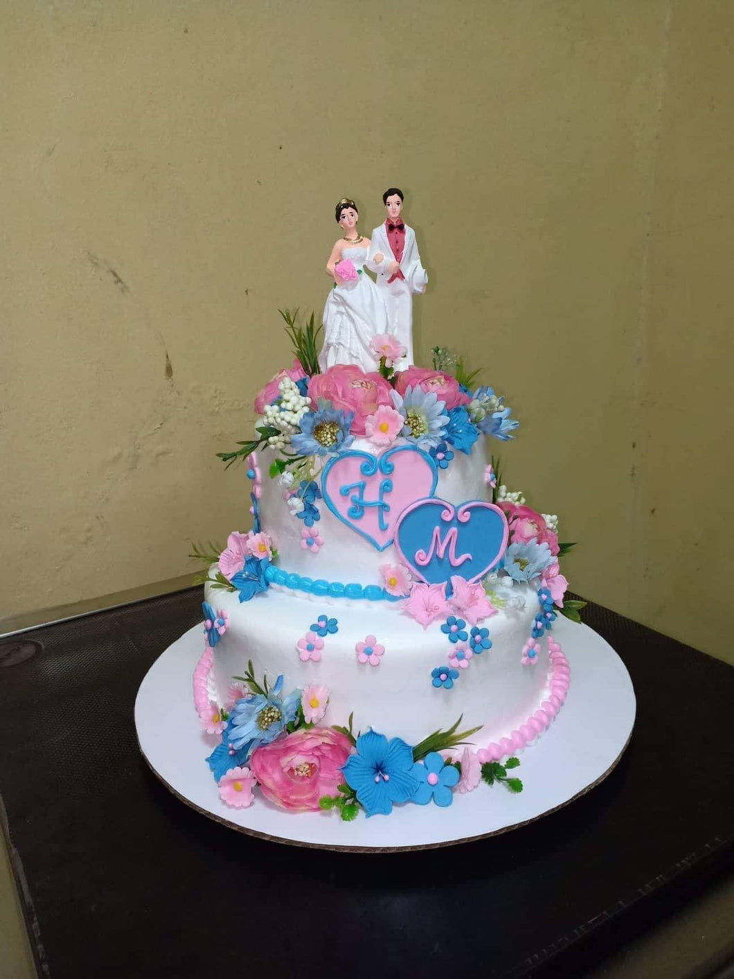 Two Layer Blue & Pink Wedding Cake