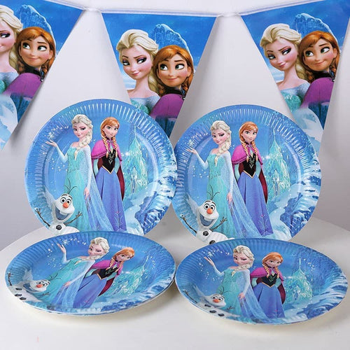 Frozen Themed Kiddie Party Paper Plates & Party Banner Set
