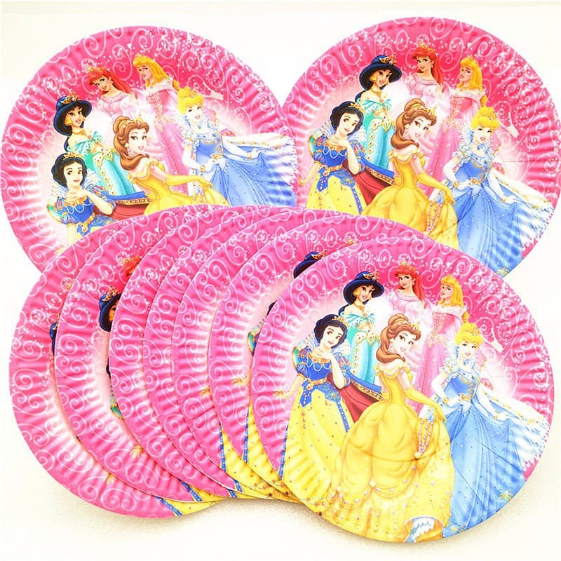 Pink Disney Princesses Themed Paper Plates For Party Celebrations