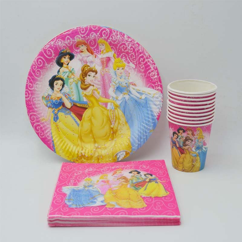 Disney Princesses Featured Kiddie Paper Party Plates, Cups and Napkins Set