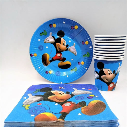 Mickey Mouse Paper Party Plates, Cups and Napkins - Set