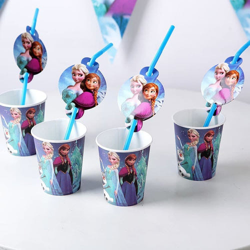 Frozen Themed Blue Party Cups With Straw