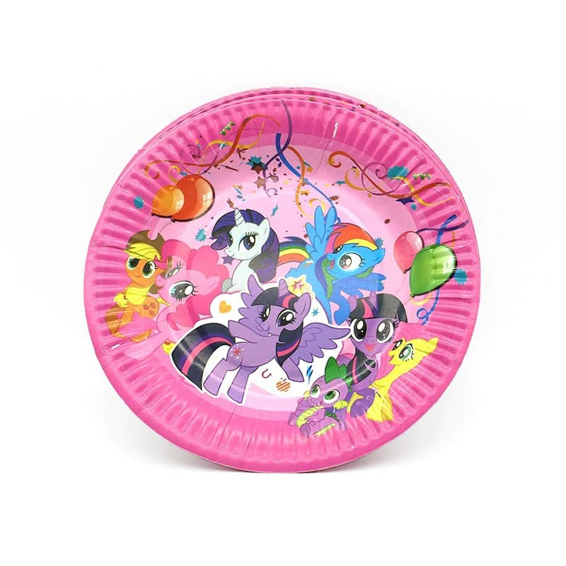 Pony Unicorn Themed Pink Paper Plate For Birthday Celebrations