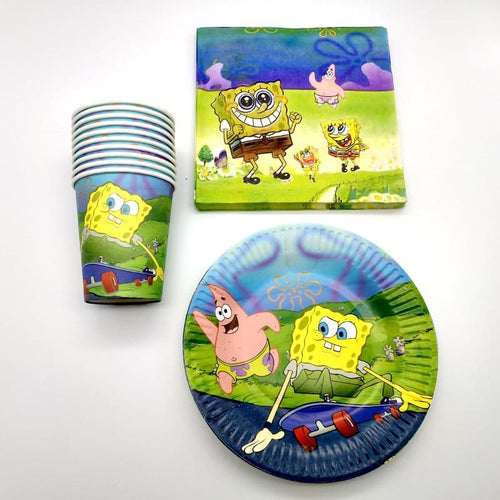 SpongeBob Paper Party Plates, Cups and Napkin - Set