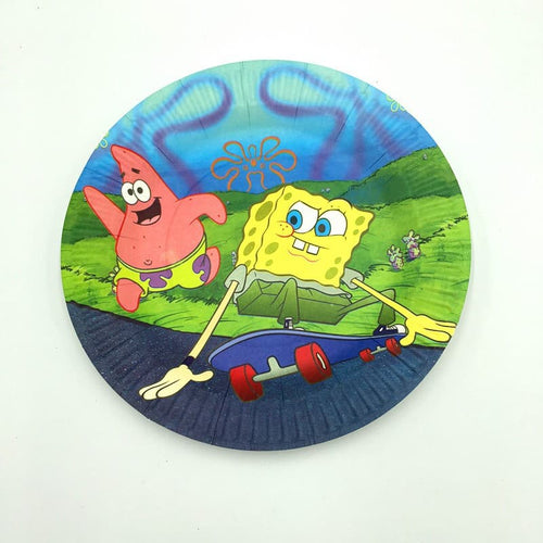 Sponge Bob Square Pants Riding Skateboard Themed Paper Plate