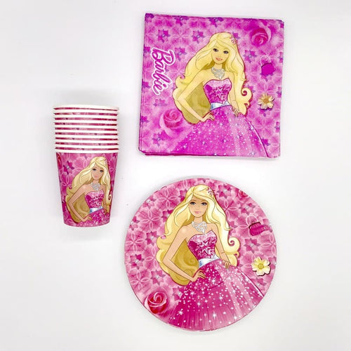 Barbie Themed Paper Party Plates, Cups and Napkins Set