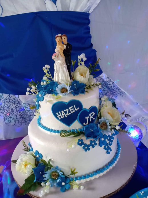 Two Layer Personalized Royal Blue Theme Wedding Cake