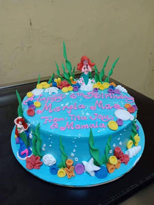 Single Layer Little Mermaid Theme Personalized Cake