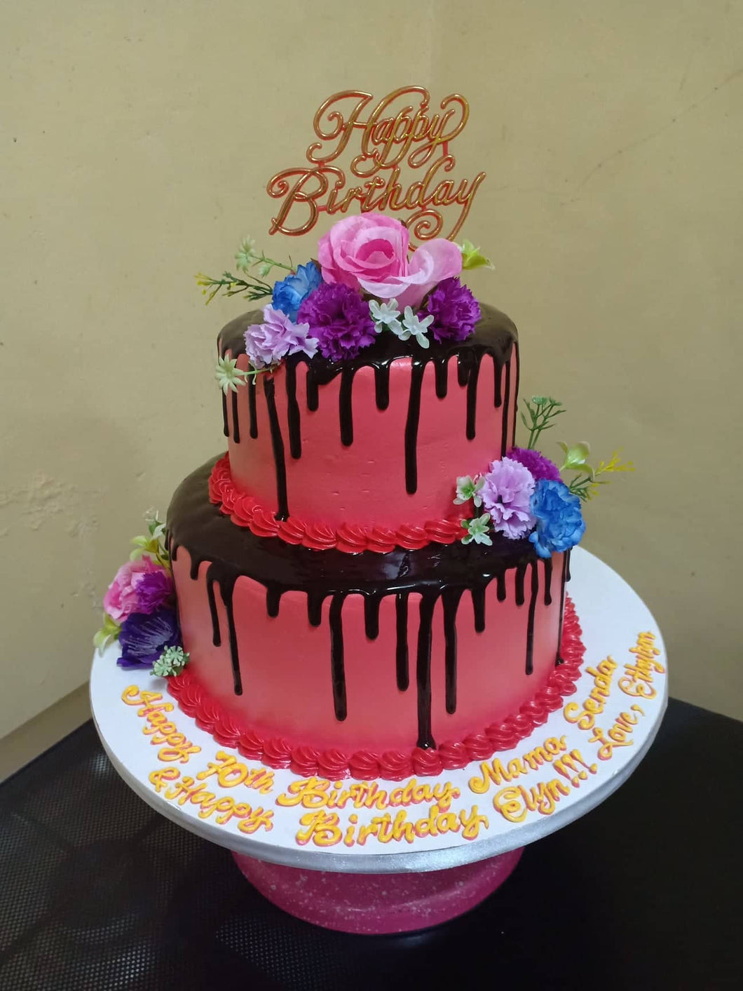 Two Layer Choco-Dripping Personalized Cake