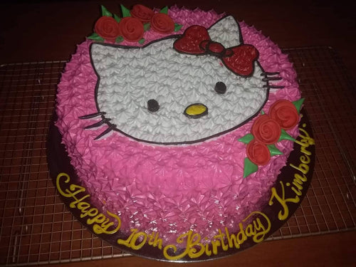 Single Layer Round Hello Kitty Personalized Cake