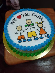 Single Layer Round Personalized Family Cake