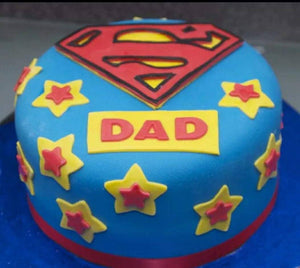 Single Layer Superman Theme Personalized Cake