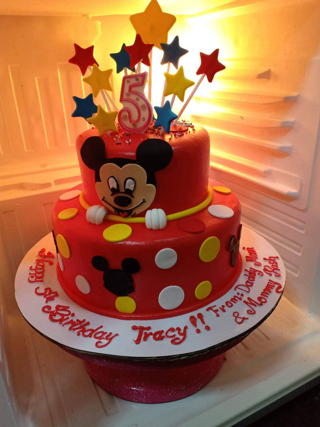 Two Layer Round Minnie Mouse Personalized Cake