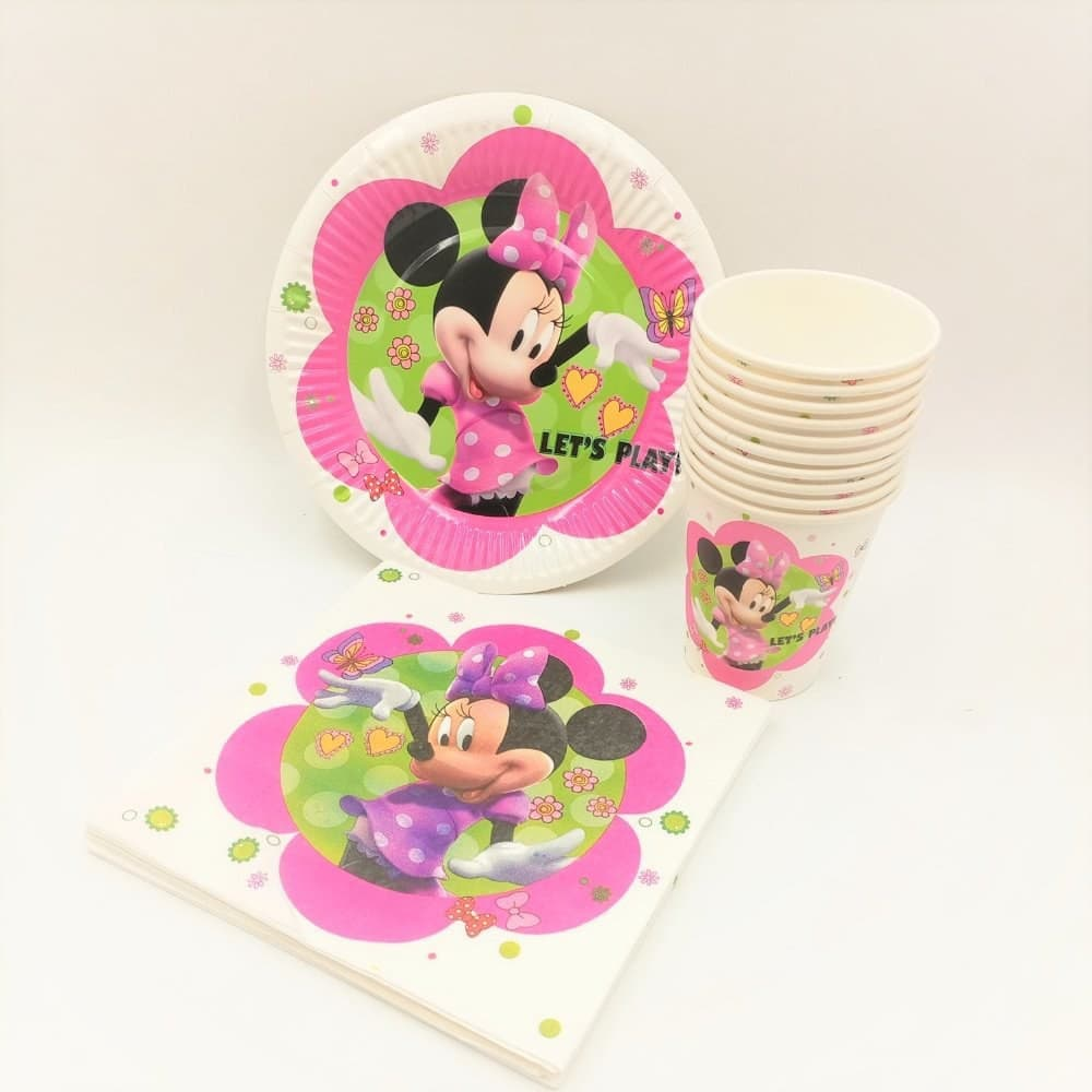 Minnie Mouse Paper Party Plates, Cups and Napkins - Set