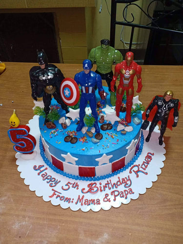 Single Layer The Avengers Personalized Birthday Cake