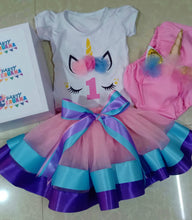 Load image into Gallery viewer, Unicorn Birthday Party Tutu Outfit Set