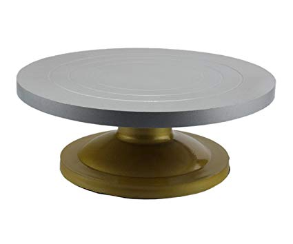 12 inch Silver-Gold Acrylic Cake Stand Revolving Server - Heavy Duty