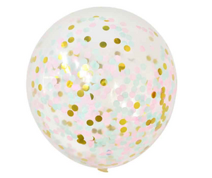 Latex Gold and Pink Confetti Party Balloons