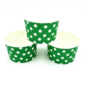 Green Polka dots Themed Ice Cream / Soup Cups