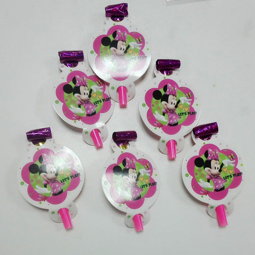6 PCS. Minnie Mouse Noise Maker/Whistle Blowouts Party Decoration
