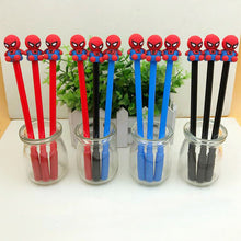 Load image into Gallery viewer, Red, Black and Blue Spider Man Themed Gel Pen Placed inside Glass Cup