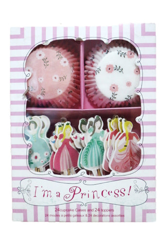 I'm a Princess Cupcake Wrapper with Princesses on Stick (Set)