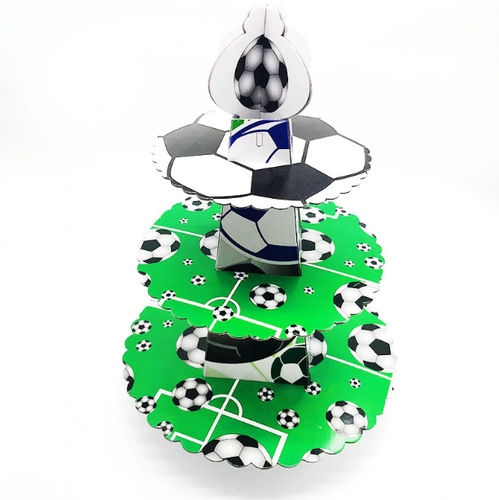 Soccer Themed Design Green Colored Cupcake Party Stand