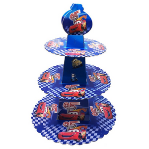 Cars Lightning McQueen Themed Stripe Blue Cupcake Party Stand