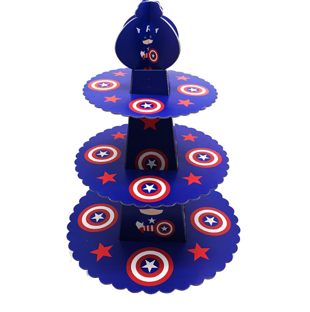 Captain America Themed Blue Colored Cupcake Party Stand