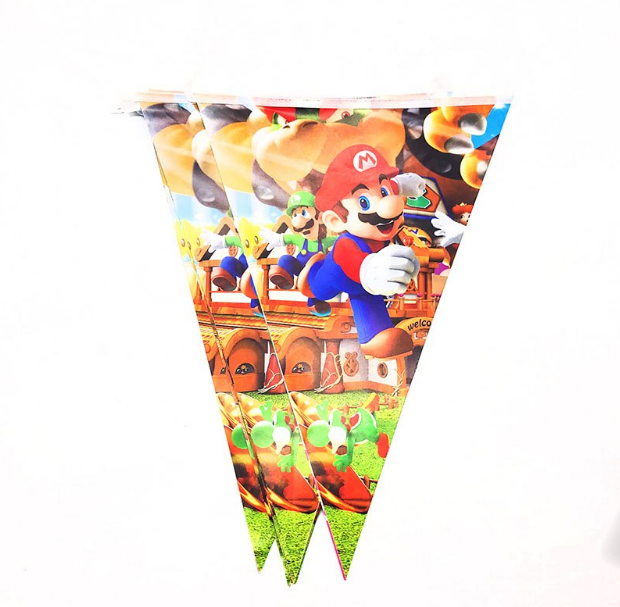 Super Mario Themed Printed Party Banner