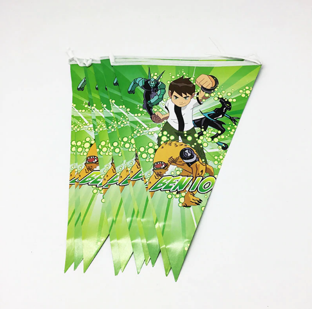 Ben 10 Themed Green Colored Print Party Banner