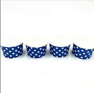 Dark Blue Polka dots Themed Ice Cream / Soup Cups