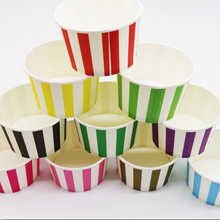 Load image into Gallery viewer, Colorful Stripe Theme Disposable Ice Party Cream/Soup Cups