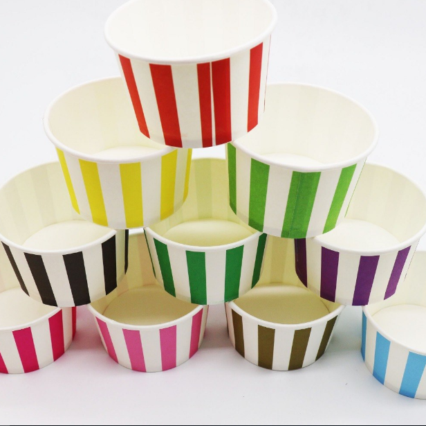 Colorful Stripe Theme Disposable Ice Party Cream/Soup Cups