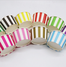 Load image into Gallery viewer, 10 PCS. Colorful Stripe Theme Disposable Ice Party Cream/Soup Cups