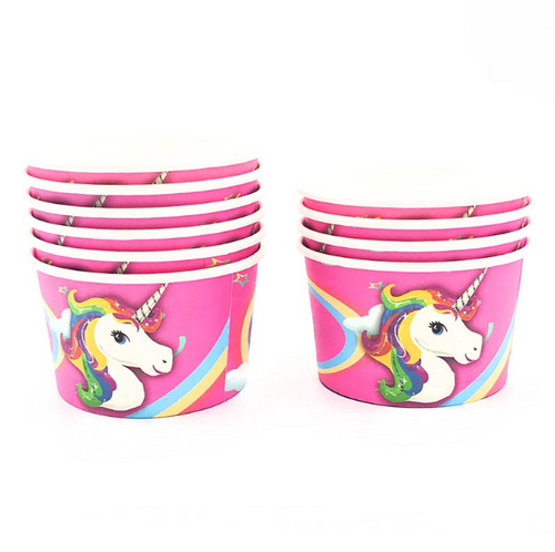 Pony Unicorn Themed Pink Disposable Ice Cream Party Soup/Cups