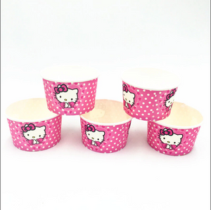 10 PCS. Hello Kitty Polka Dots Theme Disposable Ice Cream/Soup Cups