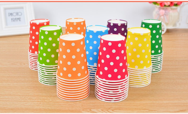 Colorful Polka Dots Disposable Party Cups For Party Celebrations