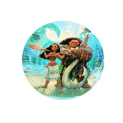 Sky Blue Moana and Maui Themed Paper Plate for Birthday Parties