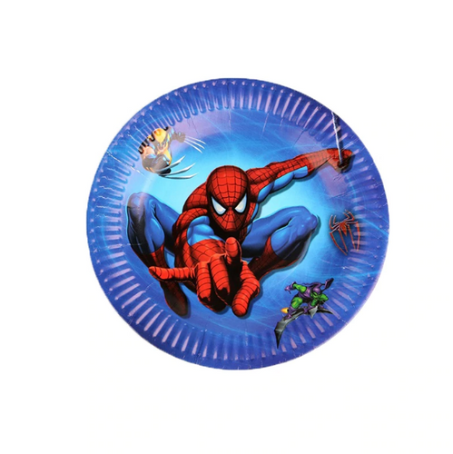 Spider Man Themed Blue Paper Plate For Birthday Celebrations